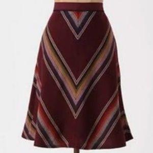 Anthropologie Chevron Jewel Tone Stripe Skirt